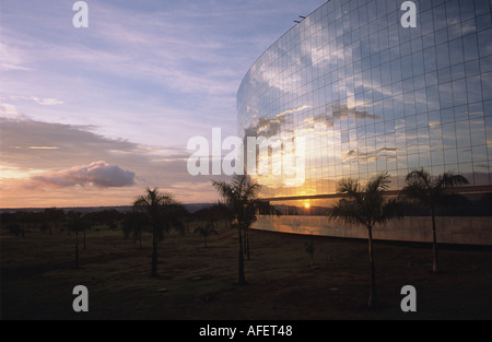 Early Morning Reflection in Windows of Government Building Brasilia Brazil - Stock Photo