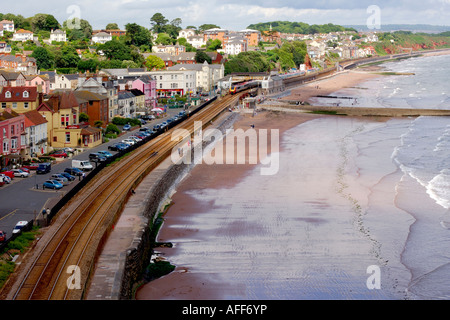 The seaside resort of Dawlish in South Devon with the railway line running along the seafront - Stock Photo