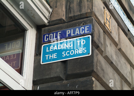 Street signs 'Golf Place' and 'Leading to the Scores' in St. Andrews, Fife, Scotland, UK. - Stock Photo