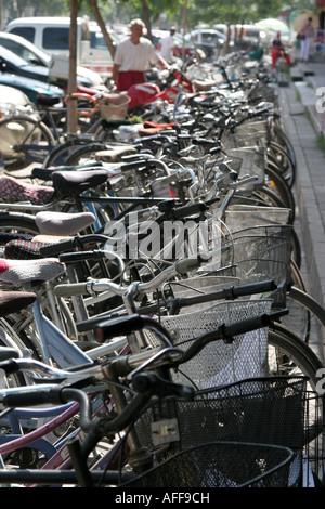 Bicycles parking Yinchuan town Ningxia China August 2007 - Stock Photo