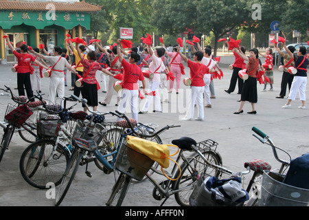 Gymnastics with drums at Yinchuan city Ningxia China August 2007 - Stock Photo