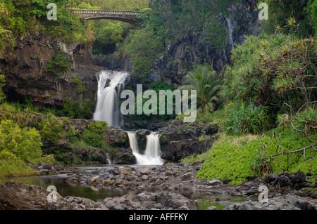 Waterfalls and bridge at Oheo pools Kipahulu District Haleakala National Park Maui Hawaii