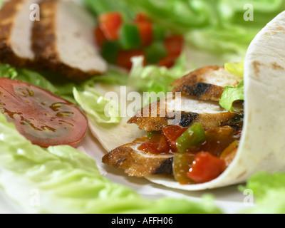 roast chicken wrap - Stock Photo