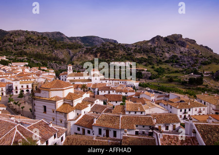 View across rooftops at Grazalema Parque Natural Sierra de Grazalema Andalucia Spain Europe - Stock Photo