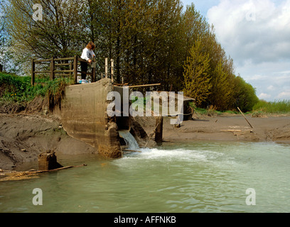 Water Environment Agency officer sampling water from factory outfall - Stock Photo