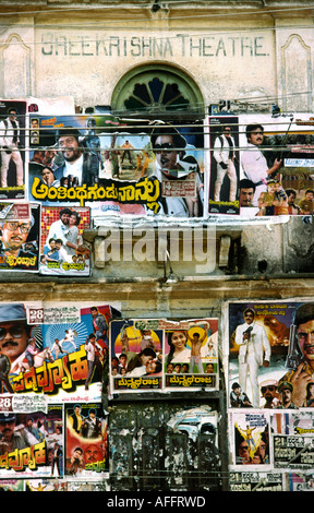 India Karnataka Mysore Bollywood cinema posters on Shreekrishna Theatre wall - Stock Photo