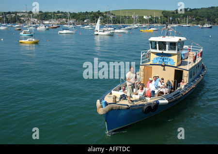 St Mawes ferry arriving at Falmouth pier Cornwall - Stock Photo