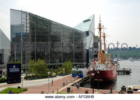 Scene from the Inner Harbor area in Baltimore Maryland USA - Stock Photo