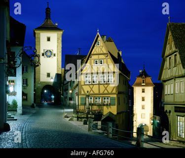 DE - BAVARIA: The Plönlein Gate at Rothenburg ob der Tauber - Stock Photo