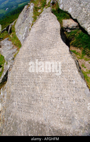 One of the two Commandment Stones at Buckland Beacon on Dartmoor carved with Christian text - Stock Photo