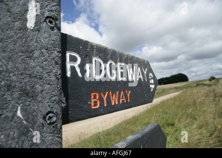 Footpath sign on the Ridgeway path in Wiltshire - Stock Photo