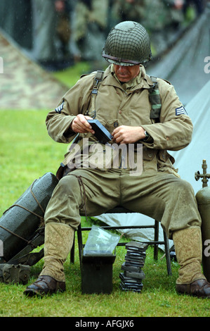 Soldiers, American soldiers from World War 2, reenactment society. The World War II Living History Association. - Stock Photo