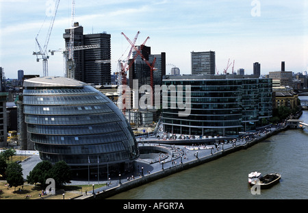 The London assembly building on the river Thames - Stock Photo