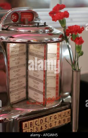 Miami Beach Florida Johnny Rocket's restaurant diner jukebox nostalgia - Stock Photo