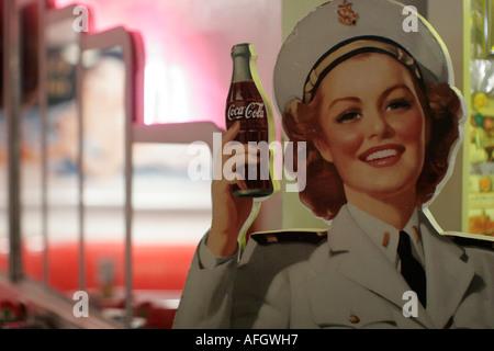 Miami Beach Florida Johnny Rocket's restaurant diner Coca Cola ad nostalgia - Stock Photo