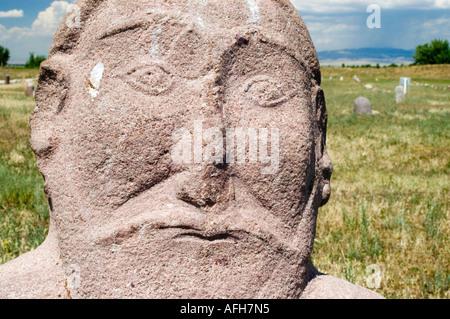 Historic grave stone, balbal, in Balasagun, silk road, Kyrgyzstan - Stock Photo