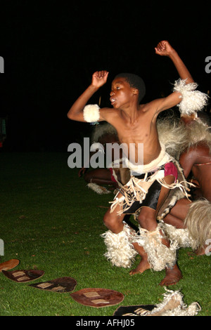 Zulu dancer in traditional dress - Stock Photo
