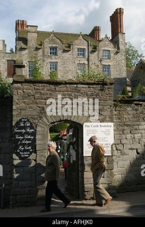 The Castle Bookshop former Jacobian mansion  The Hay Festival Hay-on-Wye Powys  Wales Great Britain - Stock Photo