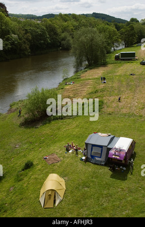 River Wye Hay on Wye Powys Wales UK Festival goers camping  by the Wye river. The Hay Festival 2000s  HOMER SYKES - Stock Photo