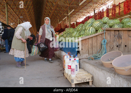 Weekly produce  market in small town of Mulga in South Western Turkey. - Stock Photo