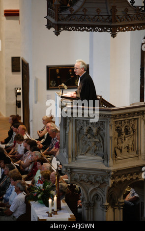 Pastor Christian Wolff in the church Thomaskirche - Stock Photo