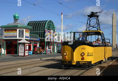 Blackpool tram at North Pier - Stock Photo