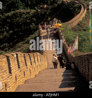 People on Great Wall of China at Mutianyu, Beijing - Stock Photo