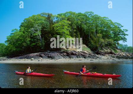 Maine Lincolnville Beach mouth of Ducktrap River sea kayaks - Stock Photo
