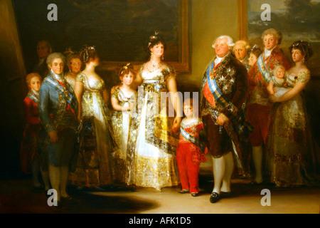 Museo del Prado Art Gallery Charles IV and family by Goya Prado Museum Madrid Spain Europe - Stock Photo