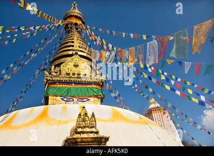 Swayambhunat Swayambhunath temple stupa Kathmandu NEPAL  Asia Katmandu  SWAYAMBUNATH - Stock Photo