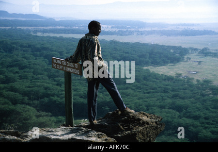 Guide and cliff top sign Nakuru National Park Kenya - Stock Photo