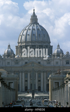 A view of Saint Peter s Basilica in Rome s Vatican City - Stock Photo