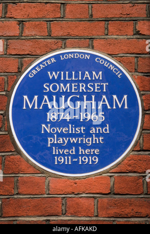 Greater London Council Blue plaque for William Somerset Maugham. 6 Chesterfield Street Mayfair London W1 England - Stock Photo