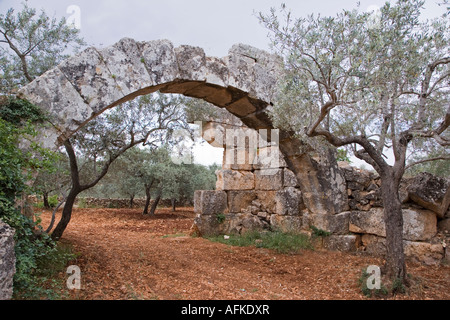 Byzantine archway in the ruined town of Al Bara, one of the many 'Dead Cities' south of Aleppo, Syria - Stock Photo