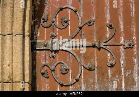 Detail of an old door belonging to the Le Puy Cathedral, Le Puy-en-Velay, Auvergne, France. - Stock Photo