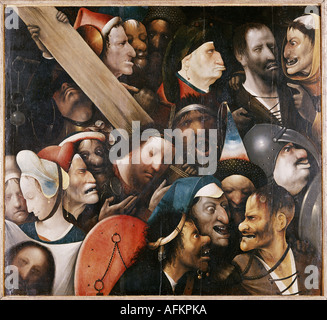 'fine arts, Bosch, Hieronymus, (um 1450 - 1516), painting, 'Christ carrying the cross', 1515 - 1516, oil on panel, - Stock Photo