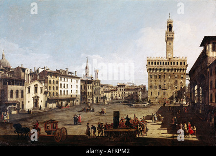 'fine arts, Bellotto, Bernardo called Canaletto, (1720 - 1780), painting, 'Piazza della Signoria in Florence', circa - Stock Photo