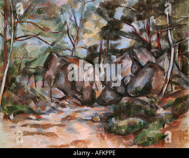fine arts, Cezanne, Paul (1839 - 1906), painting, forrest with boulders, Kunsthaus Zürich, French, Impressionism, - Stock Photo