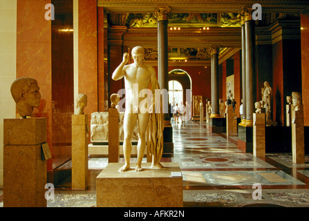 A hall of sculpture in the Louvre Museum Paris France - Stock Photo