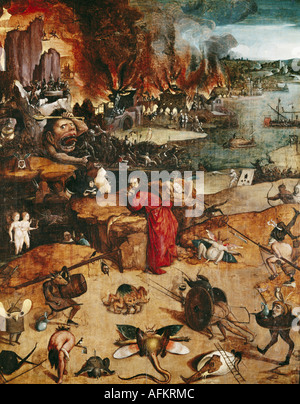 'fine arts, Bosch, Hieronymus (circa 1450 - 1516), painting, 'the temptation of Saint Anthony', Prado, Madrid, Spain, - Stock Photo