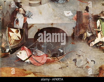 'fine arts, Bosch, Hieronymus, (circa 1450 - 1516), painting, 'the temptation of Saint Anthony', central panel, - Stock Photo