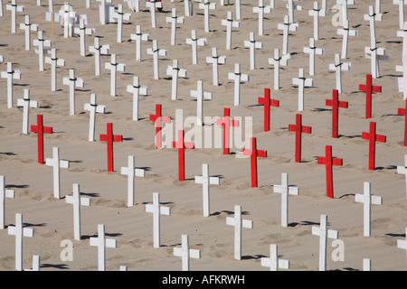 Arlington West Cemetery on Santa Monica beach - Stock Photo