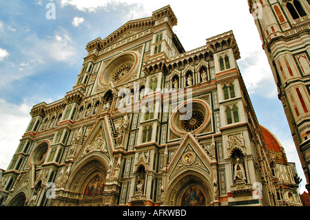 The front of the cathedral in Florence looking up to the church - Stock Photo
