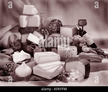 Spanish Cheeses in group sepia photograph on toned mottled background. Horizontal  Format, studio tabletop. Classic - Stock Photo