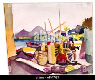'fine arts, Macke, August (1887 - 1914), painting, 'Landschaft bei Hammamet', ('landscape near Hammamet'), 1914, watercolour