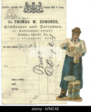 Chromolithographed die cut scrap of milkman with bill 1891 - Stock Photo