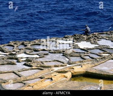 MT - ISLAND OF GOZO: Salt-Pans near Marsalforn - Stock Photo