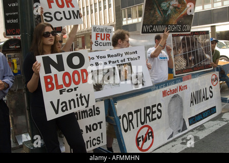 Animal Rights Activists Protesting Outside the New York Fashion Show - September 2007 - Stock Photo