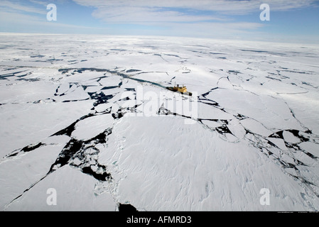 Icebreaker in Pack Ice Antarctica - Stock Photo