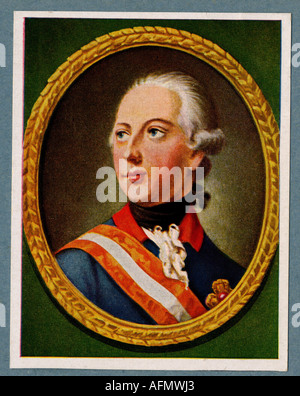 Joseph II., 13.3.1741 - 20.2.1790, Holy Roman Emperor 18.8.1765 - 20.2.1790, Portrait, print after painting by H.F. - Stock Photo